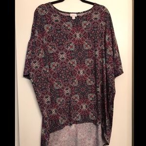 LuLaRoe Purple Patterned 3/4 Sleeve Top size 2x